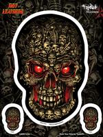 Hot Leathers Boneyard Skull Biker 6x8 Sticker