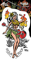 Mitch O'Connell Hula Rock Pinup Girl Sticker