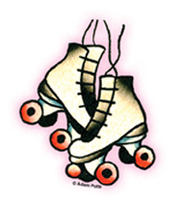 Mini Tattoo Derby Skates Sticker 25-Pack