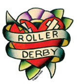 Mini Roller Derby Tattoo Heart Sticker 25-Pack