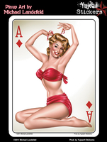 Ace of Diamonds Pinup 6x8 Sticker | 6x8