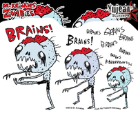 Dr Krinkles Brains, Brains, Brains Zombie Sticker | The Very Latest!!!