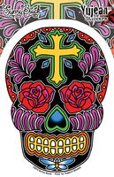 Sunny Buick's Rose Cross Sugar Skull Sticker