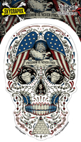 Skygraphx Free for the Dead Patriotic Sugar Skull Sticker