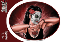 Pete Tapang Hands of Death Sugar Skull Pinup Sticker