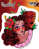 Sunny Buick Tiki Retro Pinup Girl Sticker