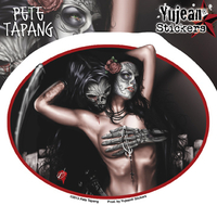 Pete Tapang Tragedy Grim Reaper, Sugar Skull Pinup Sticker | Pete Tapang