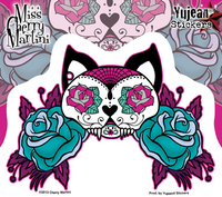 Miss Cherry Martini Tattoo Sugar Skull Cat Sticker