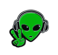 Alien Headphones Enamel Pin