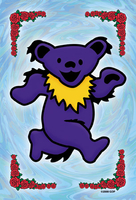 Grateful Dead Blue Dancing Bear Postcard