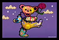GD Dancing Bear With Rose Postcard