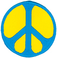 Mini Rainbow Peace Patch- Blue/Yellow