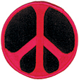 Mini Rainbow Peace Patch - Red/Black