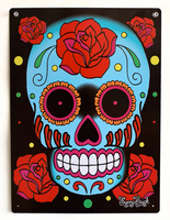 Sunny Buick Rose Sugar Skull Metal Sign