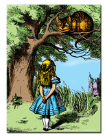 Alice and the Cheshire Cat Metal Sign