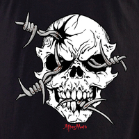 Aftermath Barbed Wire Skull T Shirt