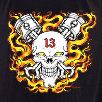 Aftermath 13 Piston Skull T Shirt