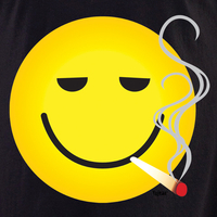 Smokin' Smiley White T shirt
