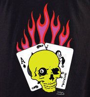 Kalynn's Flaming Cards Skull T shirt