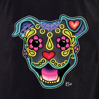 Cali Smiling Pit Bull Blue Shirt